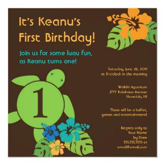 Invitación de Luau del cumpleaños de Honu de la Invitación 13,3 Cm X 13,3cm