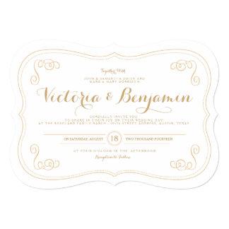 Invitación de lujo del boda del asunto - oro y