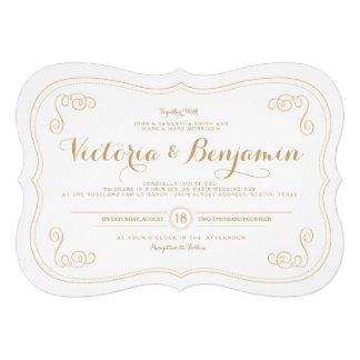 Invitación de lujo del boda del asunto - oro y bla