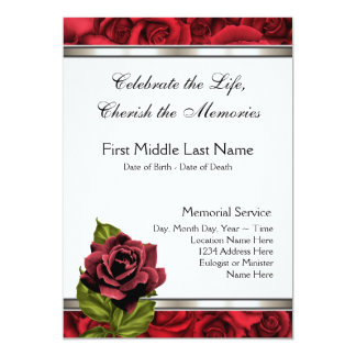 Invitación de luto del entierro de la tarjeta del
