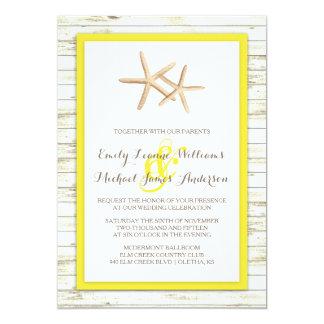 Invitación de madera blanqueada estrellas de mar