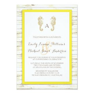 Invitación de madera blanqueada Seahorse del boda