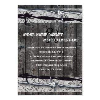Invitación de madera del alambre de púas y del