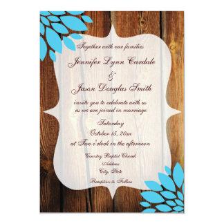 Invitación de madera del boda de la flor del
