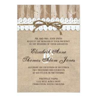 Invitación de madera del boda de la guita del