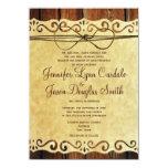 Invitación de madera del boda de papel del vintage