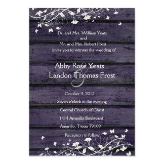 Invitación de madera del boda del añil