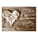 Invitación de madera del boda del corazón del