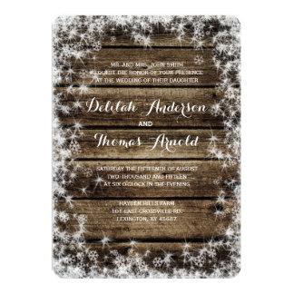 Invitación de madera del boda del invierno del