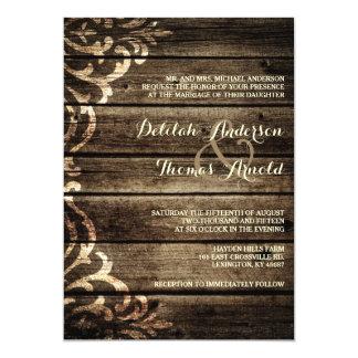 Invitación de madera del boda del vintage del