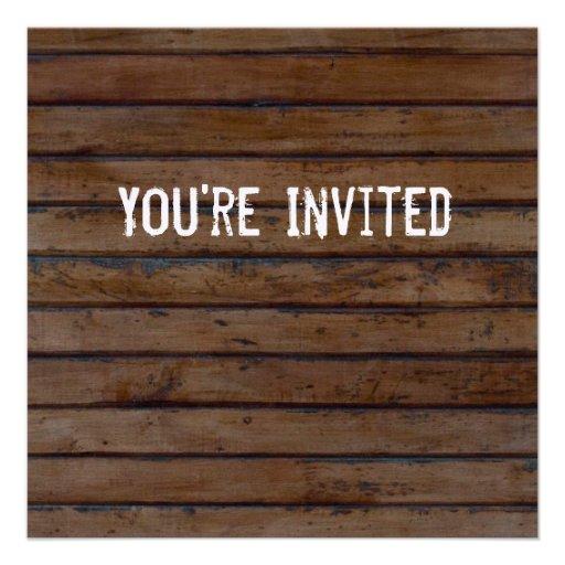 Invitación de madera del estilo de Brown