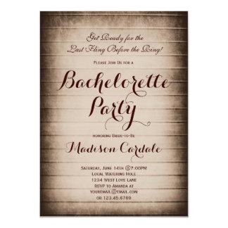 Invitación de madera del fiesta de Bachelorette