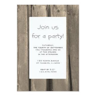 Invitación de madera del fiesta del granero