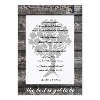 Invitación de madera gris del boda de la poesía