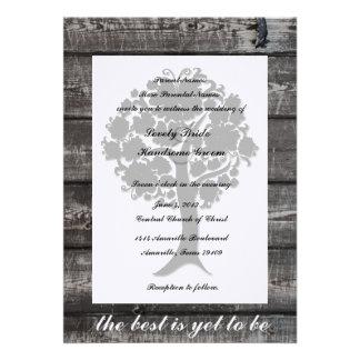 Invitación de madera gris del boda de la poesía de