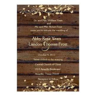 Invitación de madera oscura del boda de la mirada
