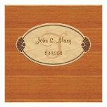 Invitación de madera oscura del boda del monograma