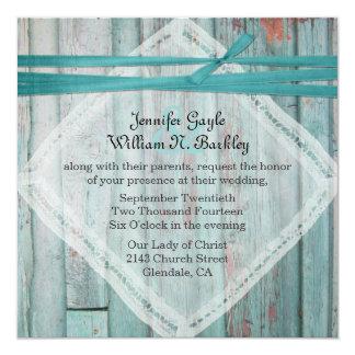 Invitación de madera pintada turquesa rústica del