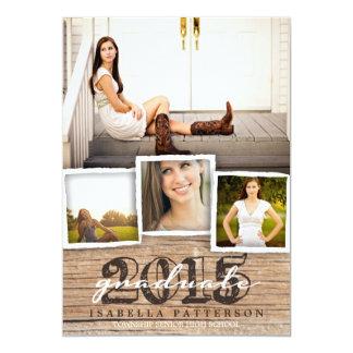 Invitación de madera rústica 2015 de la graduación invitación 12,7 x 17,8 cm