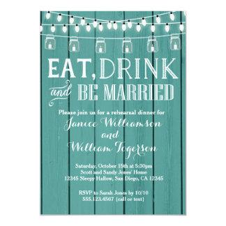 Invitación de madera rústica azul de la cena del