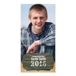 Invitación de madera rústica de la graduación de tarjetas fotograficas personalizadas