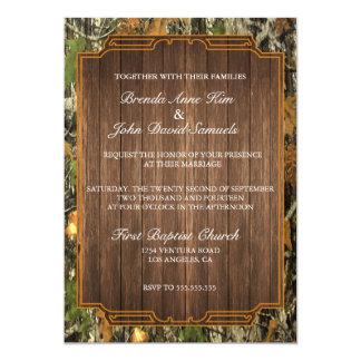 Invitación de madera rústica del boda de Camo