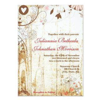 Invitación de madera rústica del boda del Birdcage Invitación 12,7 X 17,8 Cm