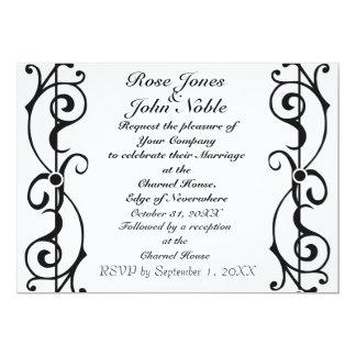 Invitación de marfil del boda de la fibrilla invitación 12,7 x 17,8 cm
