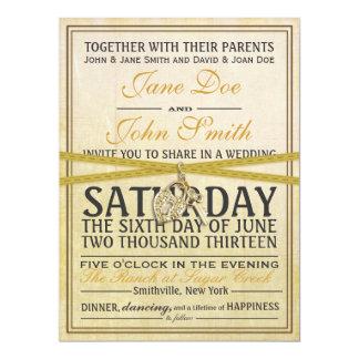 Invitación de marfil del boda de papel del vintage