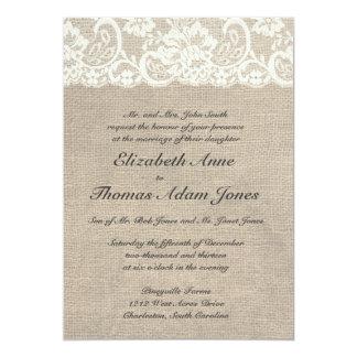 Invitación de marfil del boda del cordón y de la invitación 12,7 x 17,8 cm