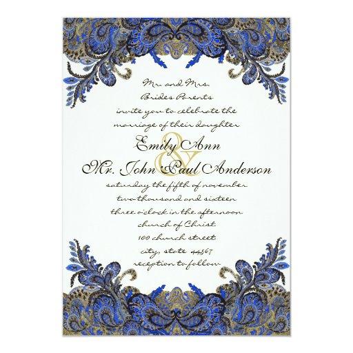 Invitación de marfil del boda del oro azul y del invitación 12,7 x 17,8 cm