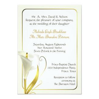 Invitación de marfil elegante del boda de la cala