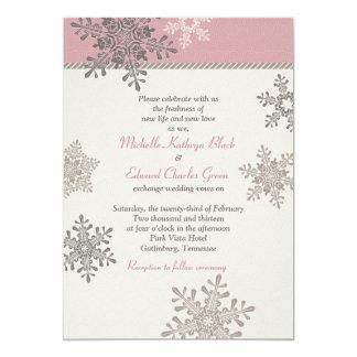 Invitación de marfil rosada del boda del invierno