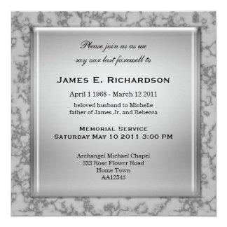Invitación de mármol gris elegante de la ceremonia