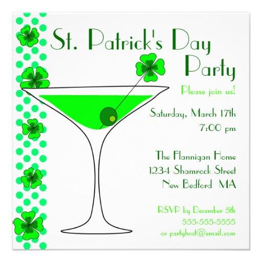 Invitación de Martini del trébol del día del St. P