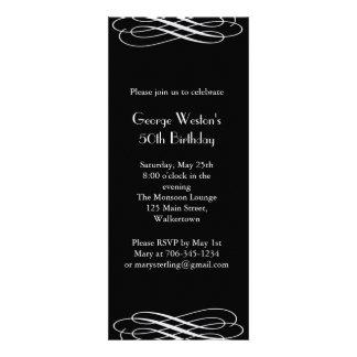 Invitación de medianoche del cumpleaños negro