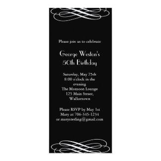 Invitación de medianoche del cumpleaños (negro)