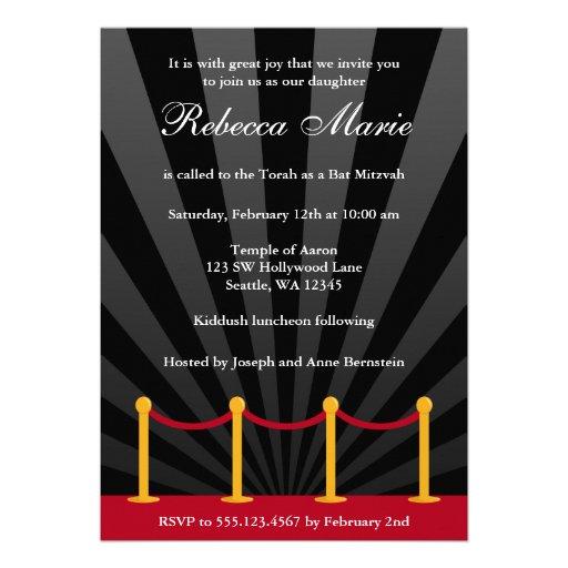 Invitación de Mitzvah del palo de la alfombra roja