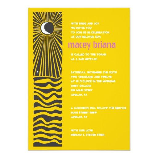 Invitación de Mitzvah del palo de la barra de AGUA
