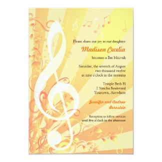 Invitación de Mitzvah del palo de los Clefs de la Invitación 12,7 X 17,8 Cm