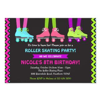 Invitación de neón del patinaje sobre ruedas