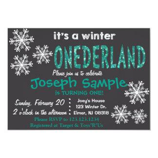Invitación de ONEderland del invierno. Pizarra Invitación 12,7 X 17,8 Cm