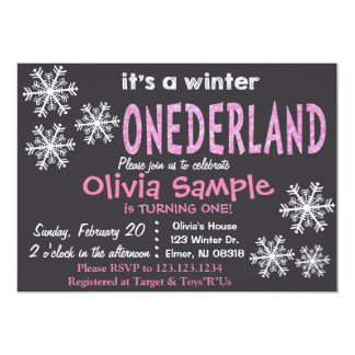 Invitación de ONEderland del invierno. Pizarra