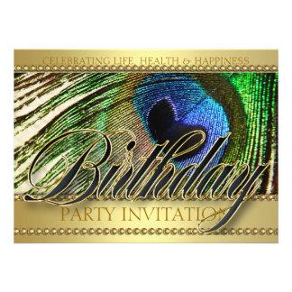 Invitación de oro de la fiesta de cumpleaños del a