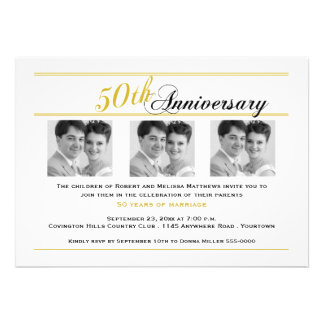 Invitación de oro de la foto del aniversario tres