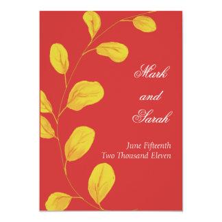 Invitación de oro de la frambuesa P de las hojas