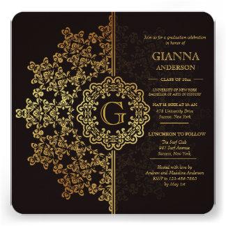 Invitación de oro de la graduación de la impresión