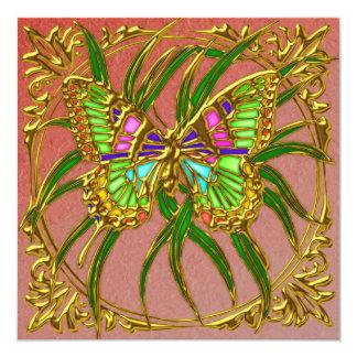 Invitación de oro del boda de la mariposa invitación 13,3 cm x 13,3cm