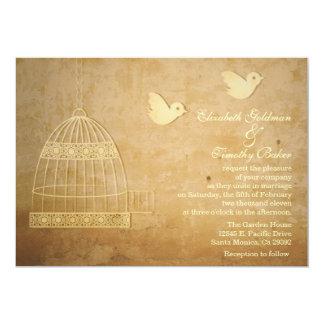 Invitación de oro del boda del Birdcage Invitación 12,7 X 17,8 Cm