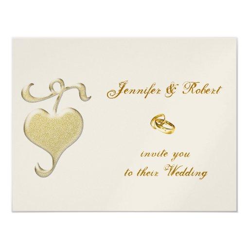 Invitación de oro del boda del corazón invitación 10,8 x 13,9 cm